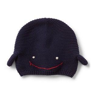Whale Garter Hat 100% cotton. Size 18-24 months